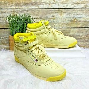 Reebok Freestyle Hi Yellow Leather Retro Sneakers